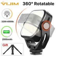 Vijim vl66 led luz de vídeo na câmera u-suporte e softbox 360 ° rotable mini recarregável cri95 + 3200k-6500k led câmera luz de preenchimento