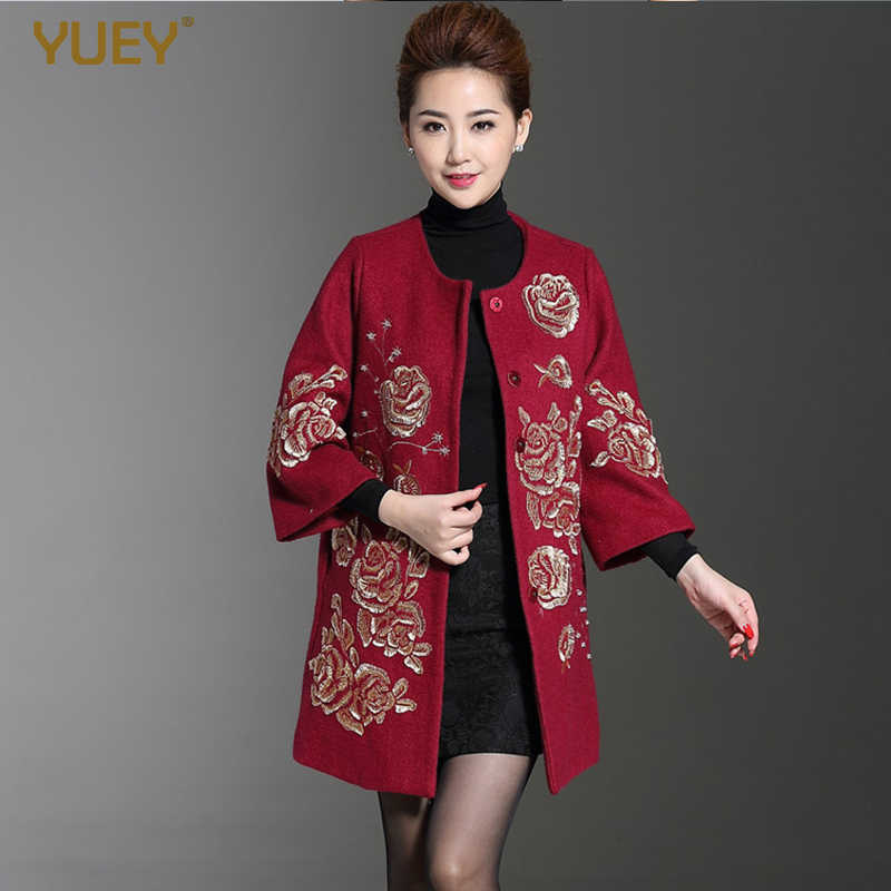 Middle-aged Women's Wool Coat Autumn And Winter Clothing National Embroidery Thick Woolen Black Red Coat Embroidered M To 4XL
