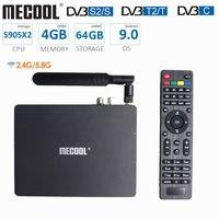 Mecool K7 TV Box 4GB DDR4 64GB ROM Amlogic S905X2 DVB T2 DVB S2 Android 9.0 Dual WiFi Prefix LED Display Antenna Set Top Box