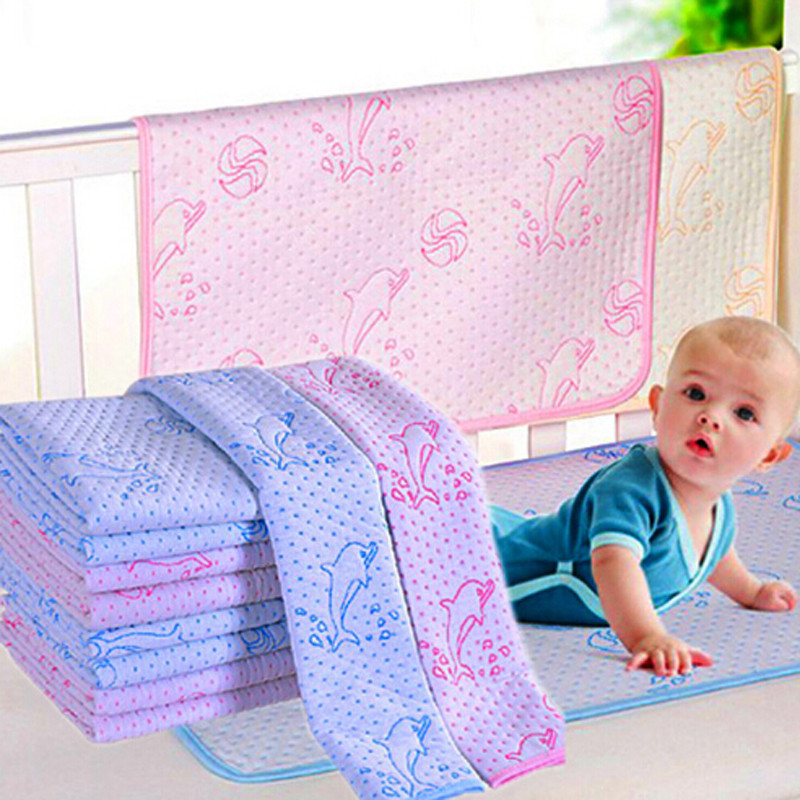 Reusable Baby Kids Waterproof Mattress Bedding Diapering Changing Mat Washable Breathable Pure Cotton Thickening Cute Dolphin