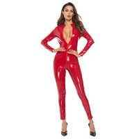 Sexy PU Latex Catsuit Frauen Schwarz Rot Wetlook Faux Leder Body Shinning Kostüm Zipper Öffnen Gabelung Leinwand Overall Dessous