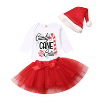3Pcs Cute Newborn Baby Girls 1st Christmas Outfits Suit Fashion Toddler Infant Tops Romper+Tutu Skirts+Hats Kids Clothes Set new 3pcs newborn baby boys girls christmas clothes crawl walk hunt romper deer pants hats caps xmas elk outfits toddler baby set