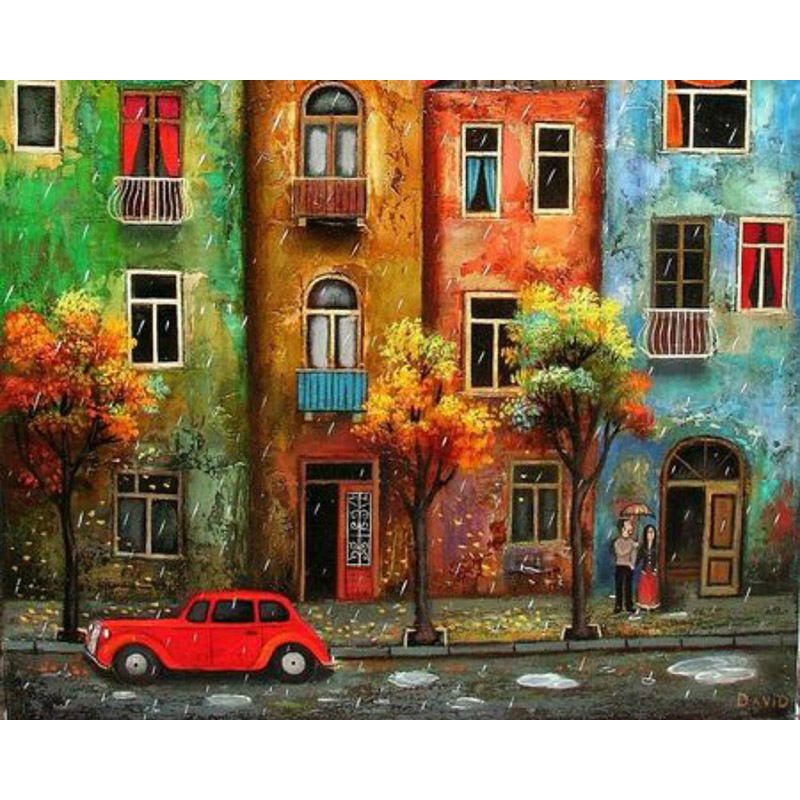 Abstract City Street Wall Art Picture DIY Painting By Numbers Draw On Canvas Oil Paintings Coloring By Number Home Decor Artwork