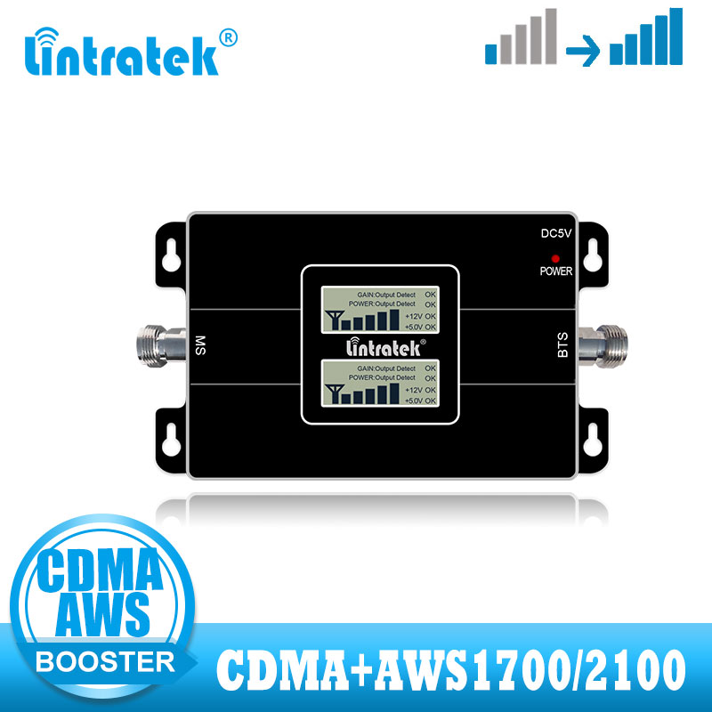 Lintratek CDMA 850MHZ Signal Booster AWS1700/2100MHz Band 4 LTE 1700  Cell Cellular Phone Signal Amplifier 2G 4G Repeater