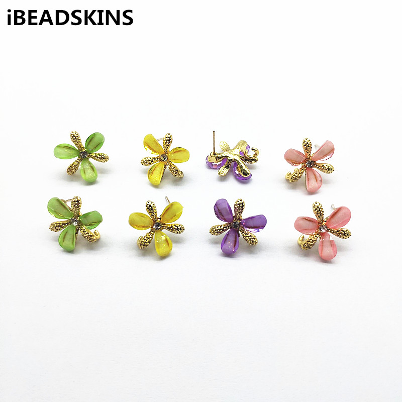 Stud Earrings Findings Flower Jewelry Diy Hand-Made Resin New-Arrival for 50pcs Zinc-Alloy