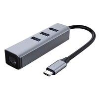 3 USB 포트 허브 분배기 이더넷 RJ45 LAN 어댑터 무료 드라이브 USB-C 분배기 고속 USB 3.0 포트 네트워크 익스텐더