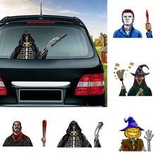 Стикер на Хэллоуин с героями ужасов, Съемные Наклейки на заднее лобовое стекло автомобиля, развевающаяся наклейка на стеклоочиститель, наклейка на автомобиль на Хэллоуин