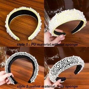 Image 5 - LEVAO Full Pearl Headband Velvet Padded Hairband for Women Autumn Sponge 4.5cm Wide Thick Hair Hoop Girls Bezel Hair Accessories