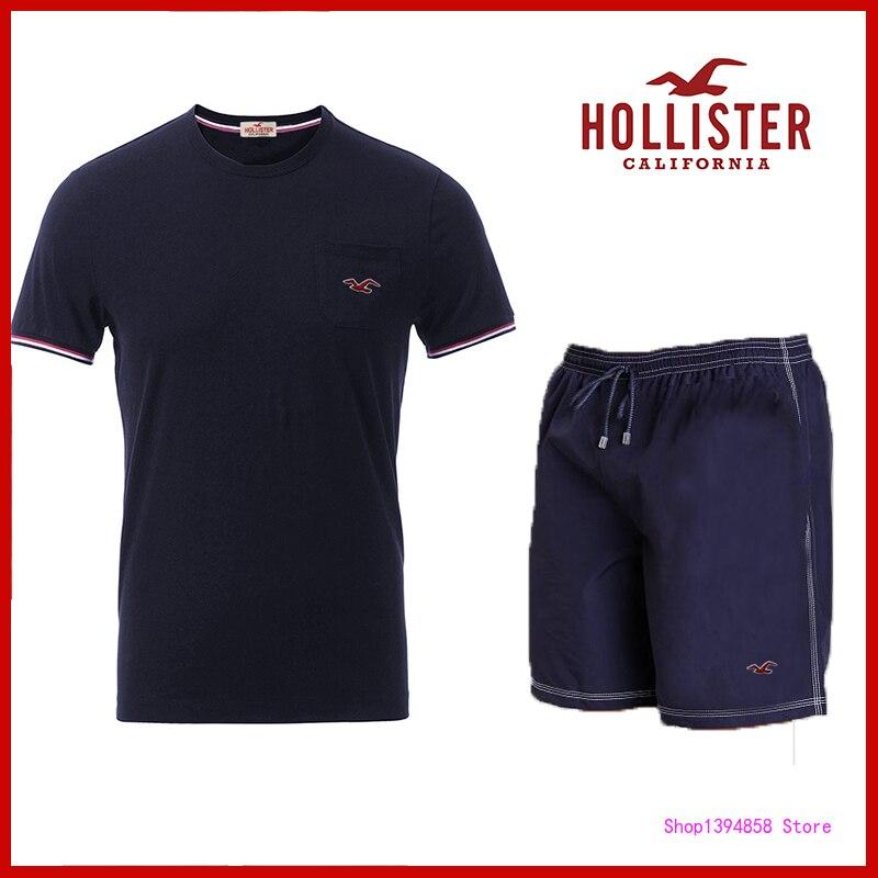 Hollister 2 pcs/set men's tracksuit T Shirt + Shorts Men Clothing Set Summer Casual Male Fitness Suit Sporting Suits 2H11