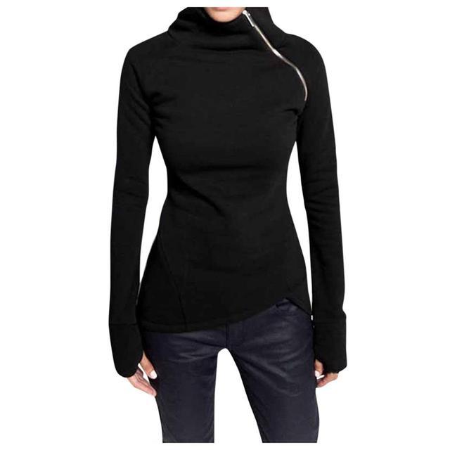 Winter Women Casual Solid Blouse Long Sleeve girl Pullover Turtleneck Zipper Sweatshirt female Tops