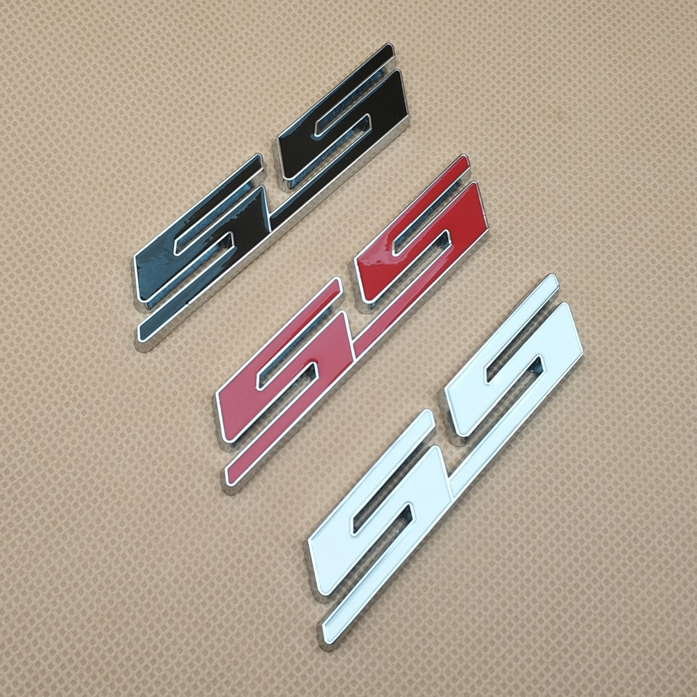 Red SS Letter Metal Grill Trunk Fender Emblem Decal Logo Badge for Camaro Impala