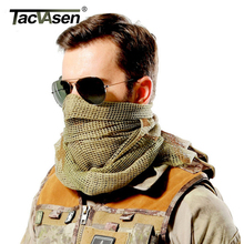 TACVASEN Camouflage Tactical Scarf Mesh Arab Keffiyeh Scarf Arabic Cotton Paintball Military Camo Head Scarf Airsoft Face Mask