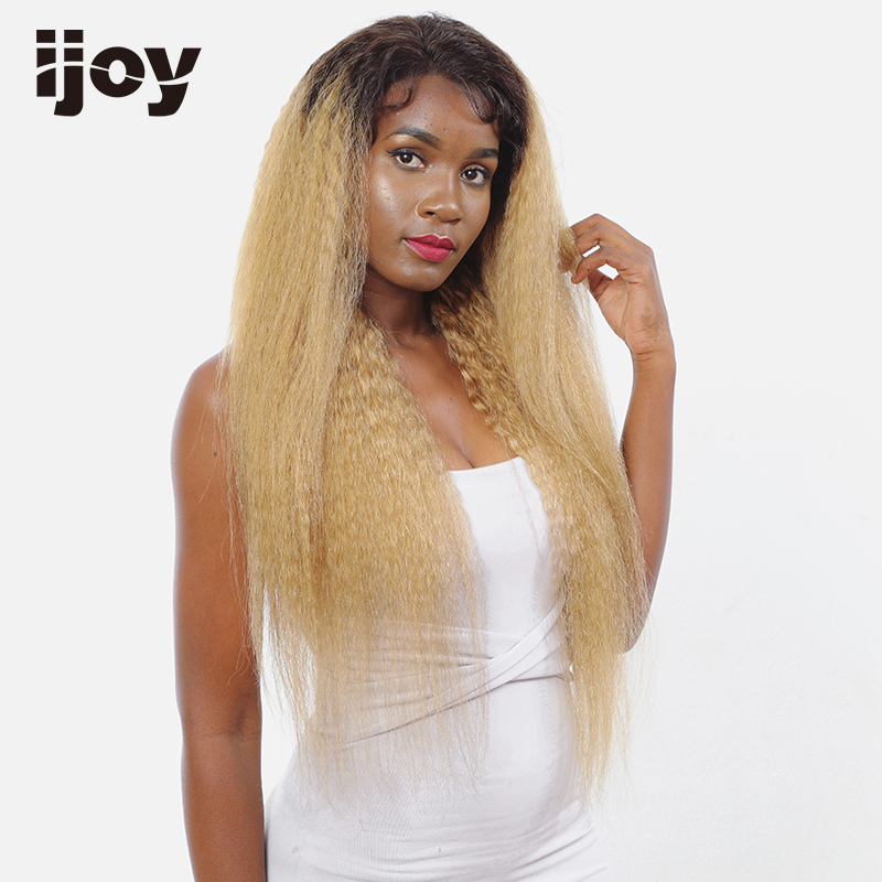 Kinky Straight Human Hair Wig Ombre Honey Blonde 4x13 Lace Front Non-Remy Brazilian Hair Colored Wig 12