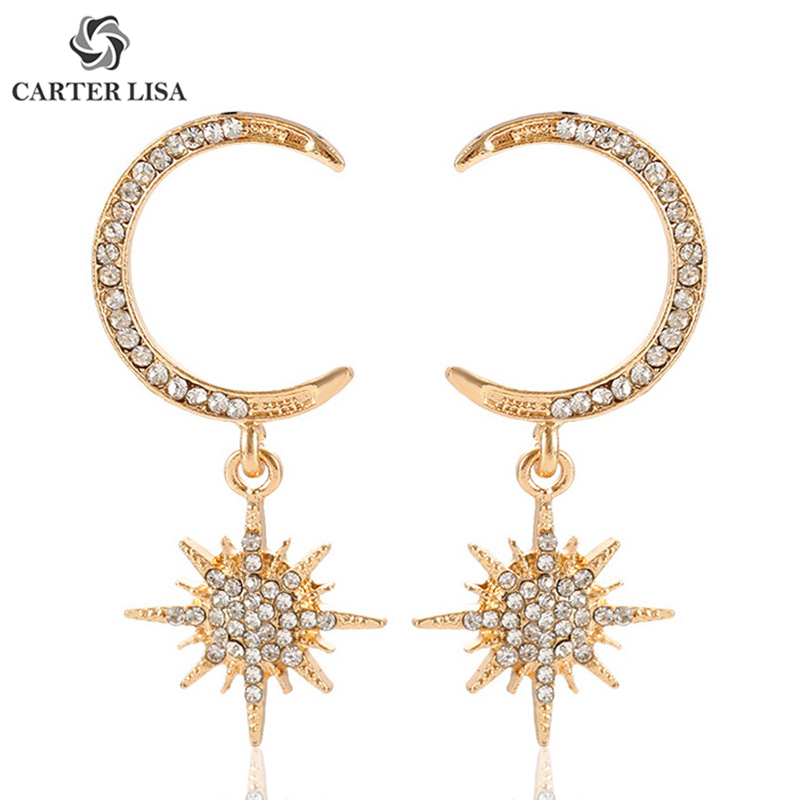 CARTER LISA Gold Crescent Moon Snowflake Statement Drop Earrings For Women Ethnic Bohemian Jewelry Party Personality Gifts