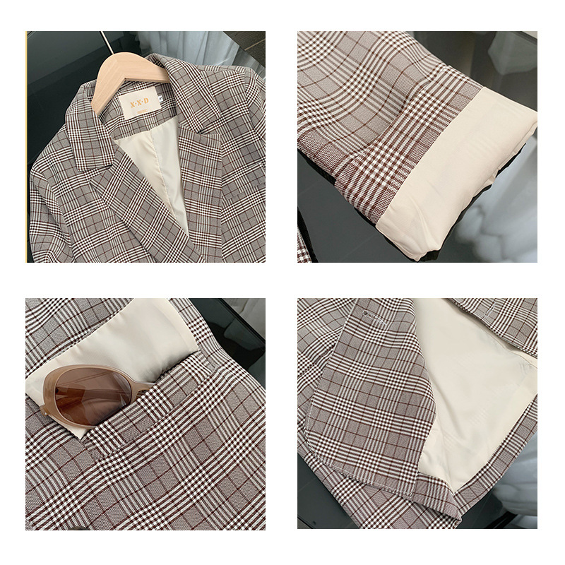 High quality women's jacket small suit lady Blazer 2020 new autumn and winter retro check loose female office jacket