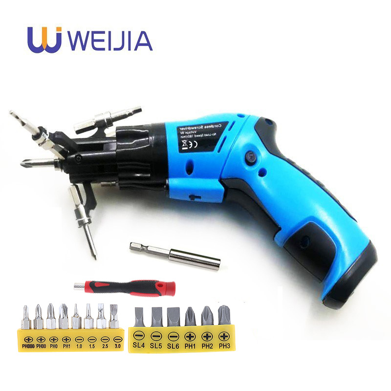 6 In1 Mini 6V Battery Cordless Electric Screwdriver  Rotary Screw Driver With Work Light And 14 Bits For Household Maintenance