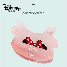 Babero de silicona genuina de Disney para comida para bebé, impermeable, súper comida ligera, desechable con bolsillo para Saliva para niños