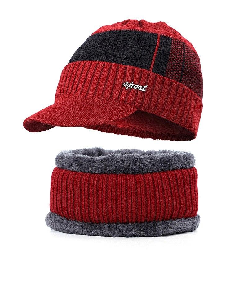 Men's Winter Warm Hat Knit Visor Beanie Fleece Lined Beanie With Brim Cap