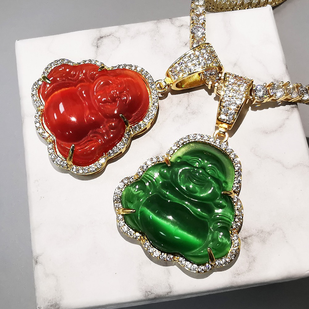 Wielokolorowy wisiorek budda AAA sześcienne naszyjnik cyrkoniowy z łańcuchem tenisowym Hip Hop biżuteria punkowa prezenty