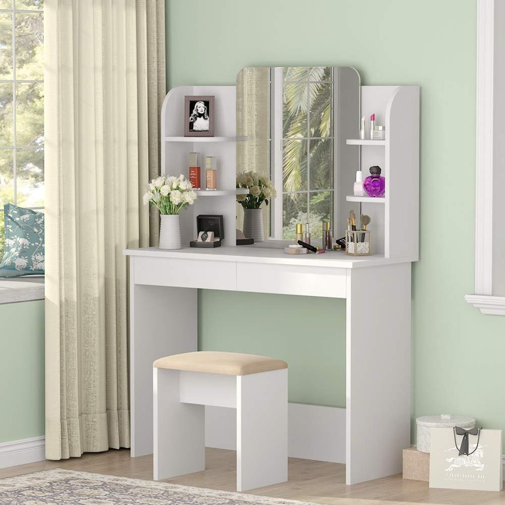 Vanity Set With Mirror, Makeup Table With Cushioned Stool Dressing Table Dresser Desk With 6 Storage Shelves