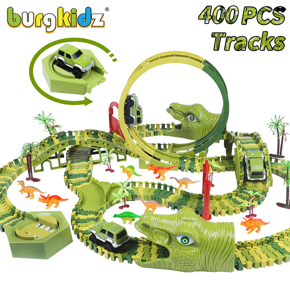 BURGKIDZ 400 PCS Dinosaur Set Railway Toy Car Track Flexible Track Race Car Magic Track Electric Car Toys For Boys 4 Years Gift