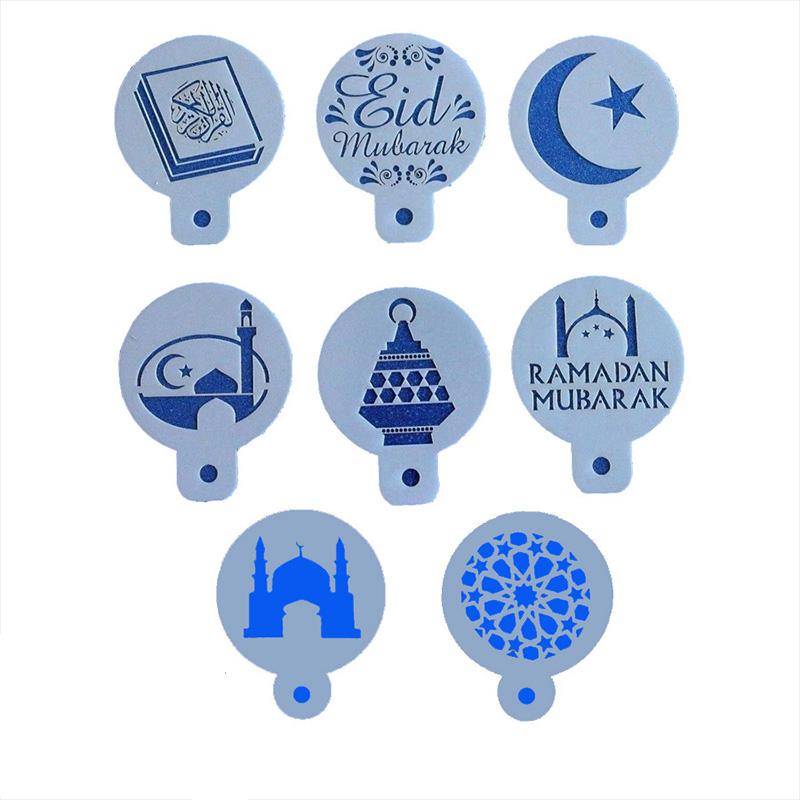 8Pcs Garland Mold Plastic Coffee Printing Flower Model Kitchen Gadgets Mosque Template Barista Stencils Cake Decorating Tools