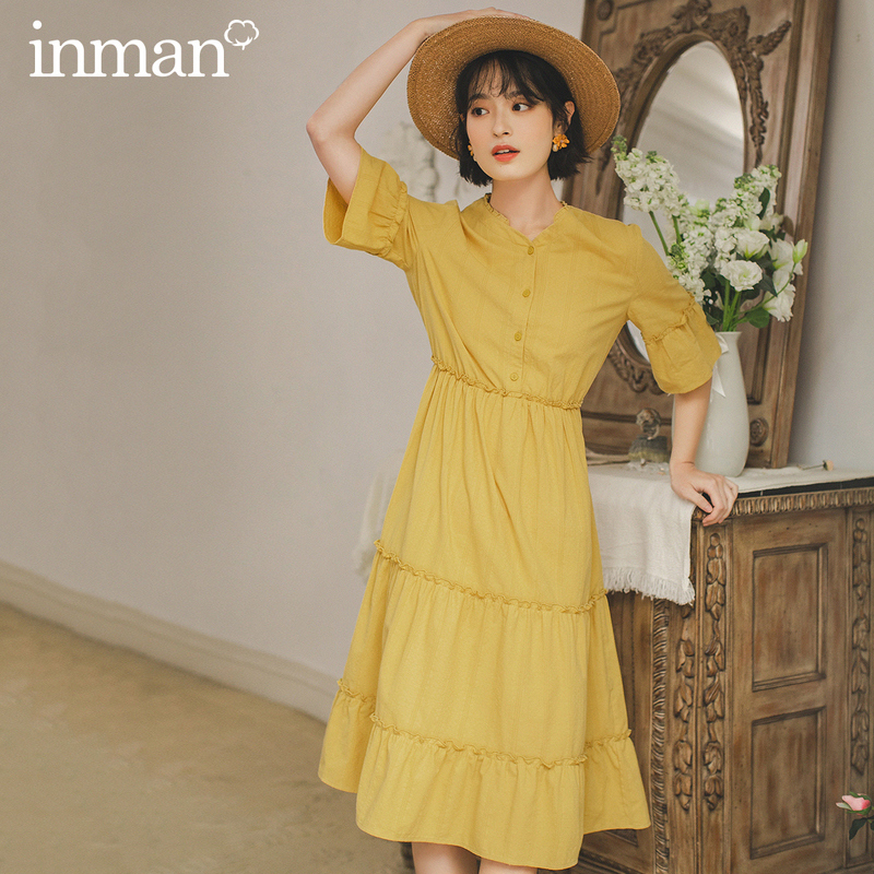 INMAN 2020 Summer New Arrival Pure Cotton V-neck Stringy Selvedge French Style Short Sleeve Dress