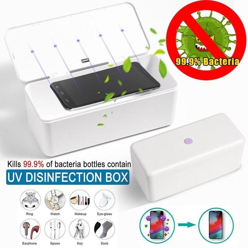 28x11x12.2cm Multifunctional Mobile Phone USB Charger Mask Sterilization UV Sterilizer Live Nail Jewelry Toy Sterilization Box