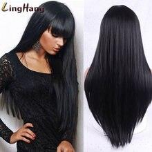 Линганг Блонд Волосы Длинные прямые парик с челкой синтетические