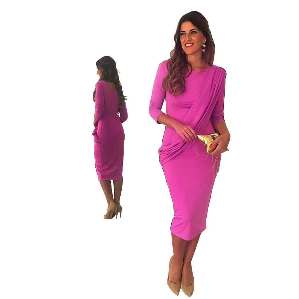 Vestito Convenzionale delle Donne di estate Solid Slim Skinny Aderente O-Collo Manica Lunga Wrap Dress Floreale Del Partito di Sera Del Vestito A Metà Polpaccio 2019 Nuovo