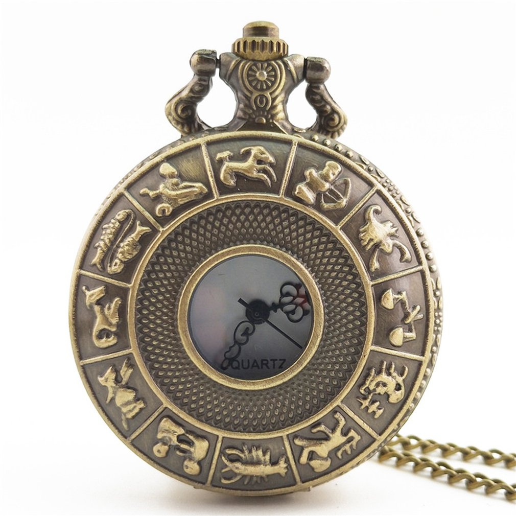 Twelve Constellations Vintage Antique Round Dial Quartz Pocket Watch Necklace Pendant Clock For Mens Womens Gifts New Fashion