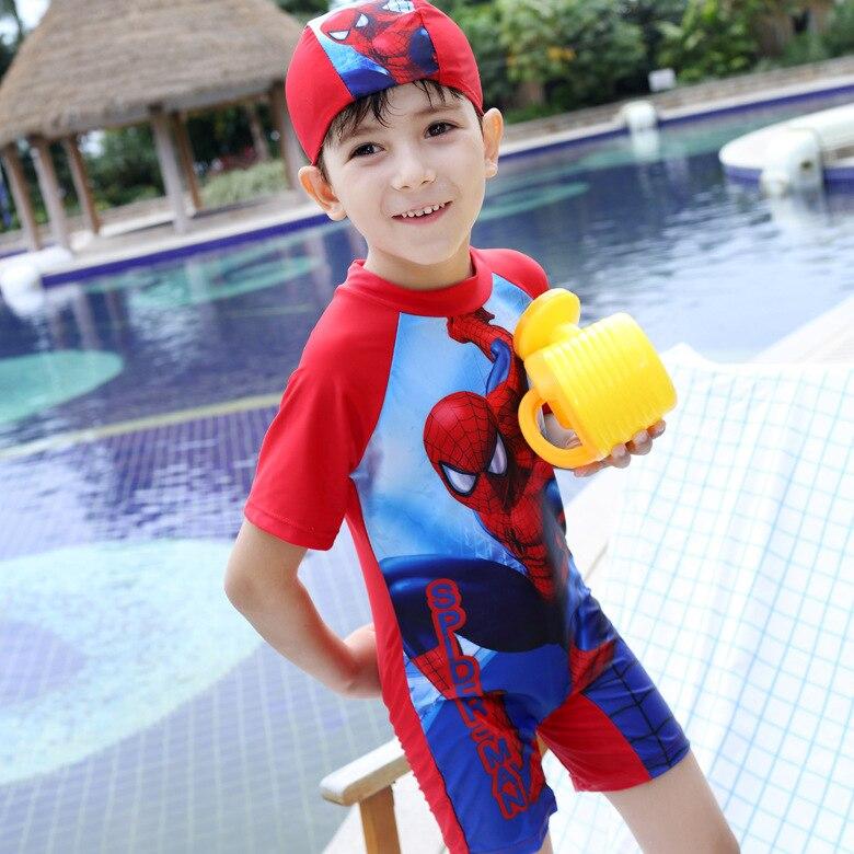 Korean-style Creative Children Siamese Swimsuit 2016 New Style Spider-Man Cartoon Sun-resistant Swimwear BOY'S Tour Swimwear Pre