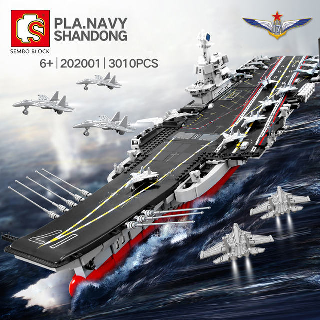 SEMBO DHL 3010pcs Aircraft Toy Carrier 1:350 Model Building Blocks Military Army Warship Cruiser Bricks Set Models Kids Gift