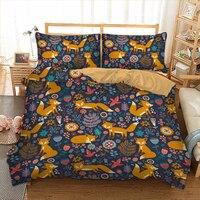 Cartoon Fox Bedding set smile foxes Print Duvet Cover Pillowcase Twin queen king size Bedclothes Bed linen 3pcs home textiles