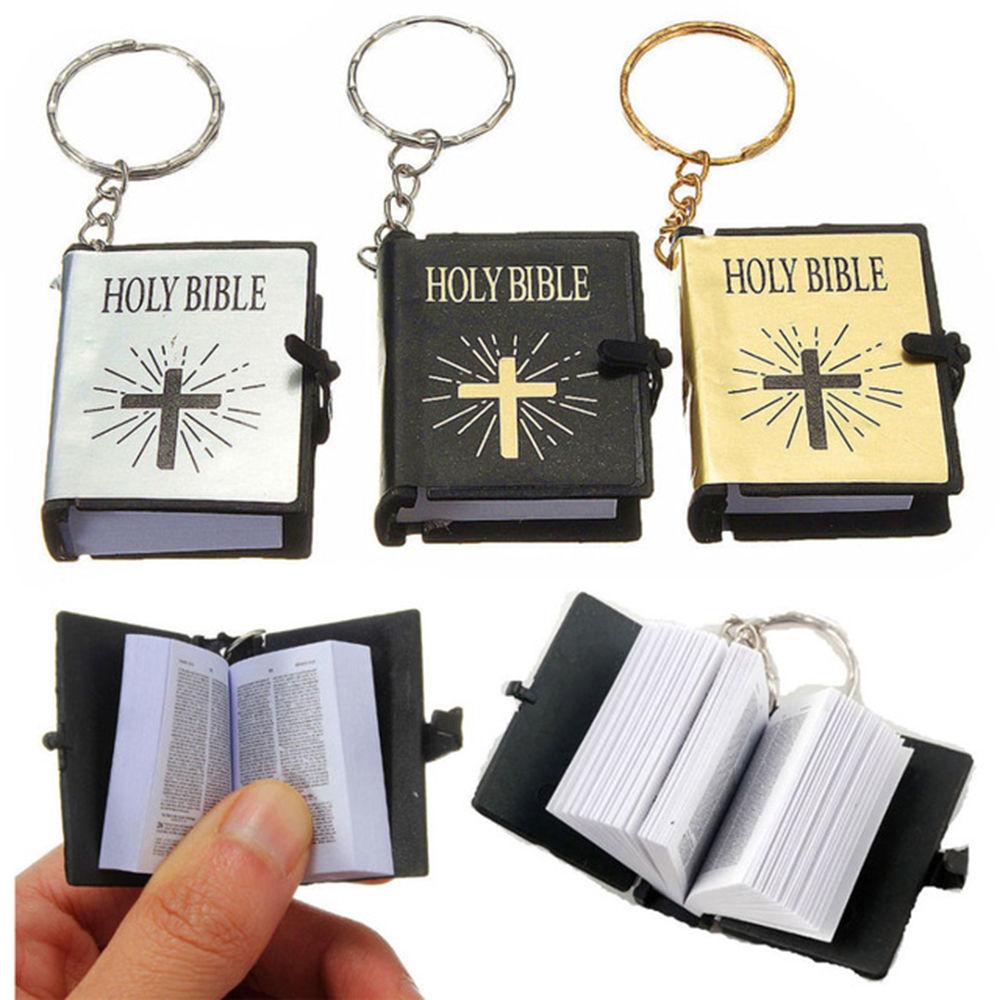 Cute Mini English HOLY BIBLE Keychains Religious Christian Cross Keyrings Women Bag Gift Souvenirs K2445