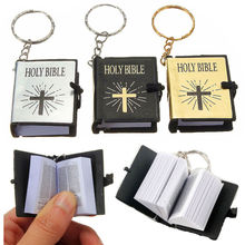 Cute Mini English HOLY BIBLE Keychains Religious Christian Cross Keyrings Women Bag Gift Souvenirs K2445