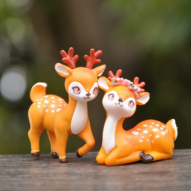 BAIFUOR 1 PC Forest Fairy Animal Sika Deer Fairy Garden Mini Figures Home Decoration Accessories Modern Christmas Gift Kid Toy 1