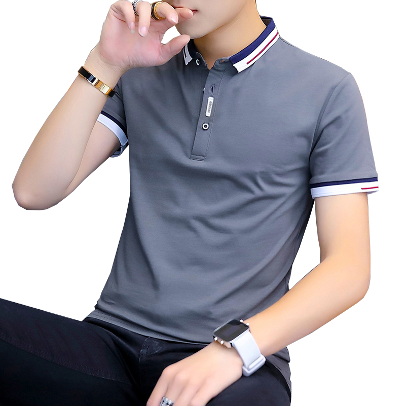 BROWON 2020 New Arrival Summer T-shirt Men Short Sleeve Slim Fit Tshirts Turn-down Collar Tee Shirt Homme