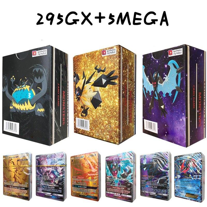 New 2019 Anime XY 300pcs Monster 295 GX+5 MEGA Game Battle Carte Pokeball Ultra Sun/ Ultra Moon Pikachu Toy For Children/Kid action figure pokemon