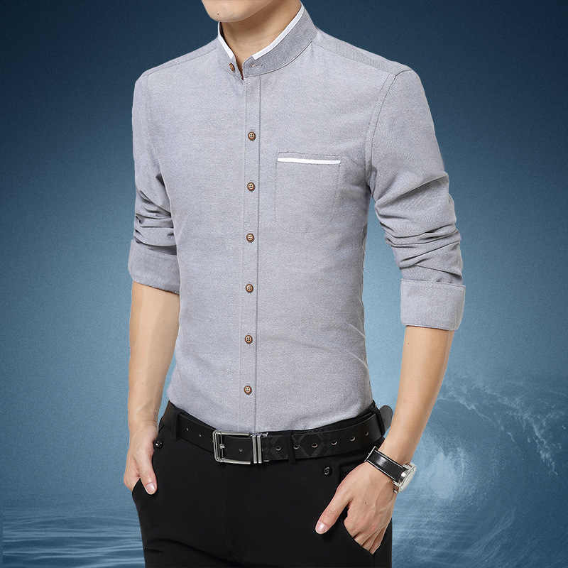 2019 Nieuwe Mode Heren Shirts Heren Stand Kraag Shirt Lange Mouw Casual Dress Shirts Slim Fit Shirt Man Kleding