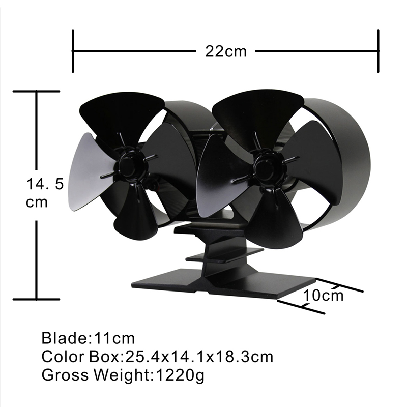 8 Blade Heat Powered Wood Stove Fan Double Motor Burner Fireplace 180-210 CFM