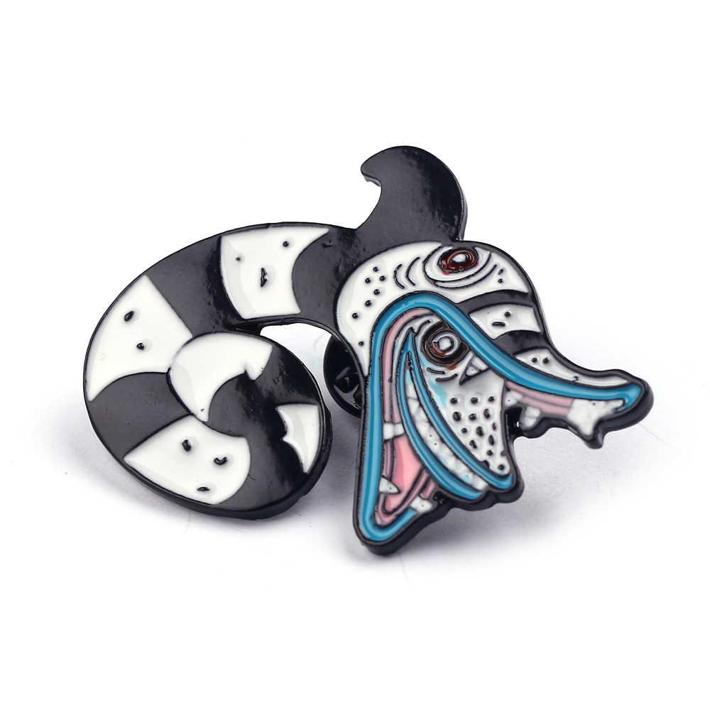 Paduan Kartun Dragon Enamel Brooche Pakaian Kerah Pin Lencana Kreatif Hewan Tas Perhiasan Halloween Natal Hadiah Teman Anak-anak