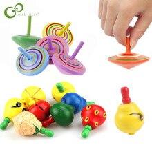 Toupie en bois coloré pour enfants, 10 pièces, Fruits, Gyro, nouveauté intéressante, jouet classique éducatif Montessori ZXH