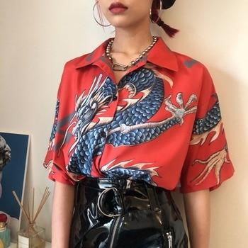 Houzhou Vintage Print Women Shirt Summer Harajuku Button Up Streetwear Short Sleeve Blouse Loose Animal Clothes