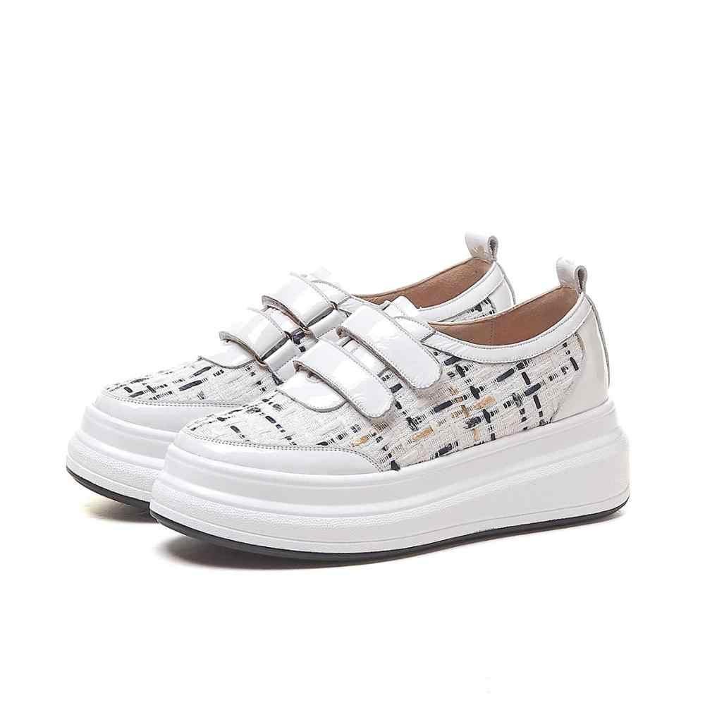 Krazing pentola in pelle di mucca hook loop della piattaforma bianco scarpe punta rotonda zeppe tacchi alti panno plaid per il tempo libero scarpe vulcanizzate L97