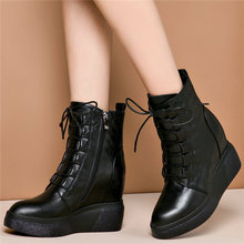 High Top Trainers Women Oxfords Genuine Leather Wedges High Heel Ankle Boots Lace Up Pointed Toe Platform Pumps Punk Creepers цена
