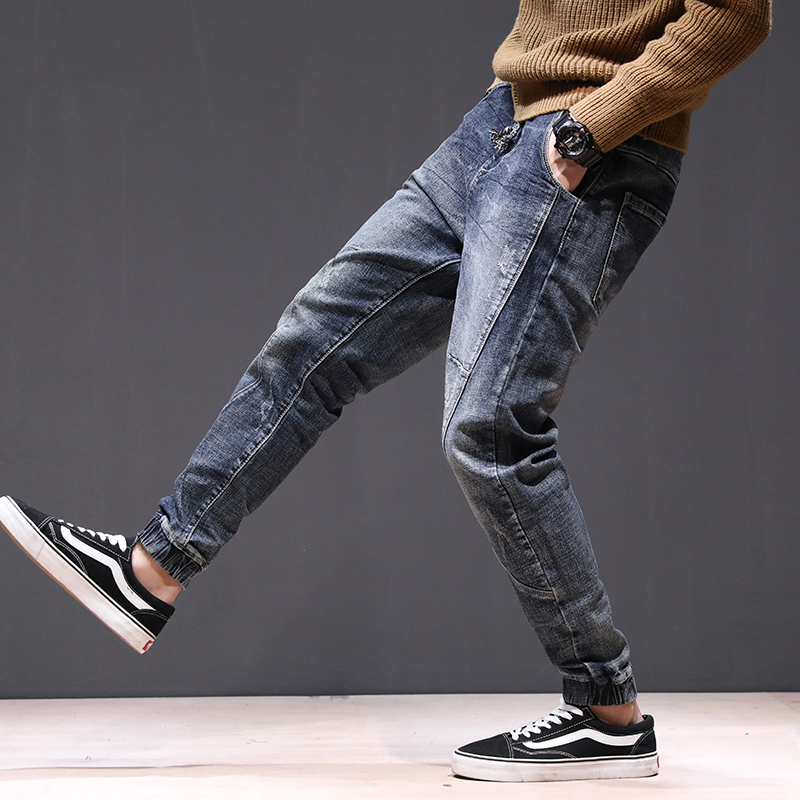 KSTUN joggers jean men motorcycle jeans streetwear drawstring elastic waist ruched Pants leisure riding jeans male plus size 42 14