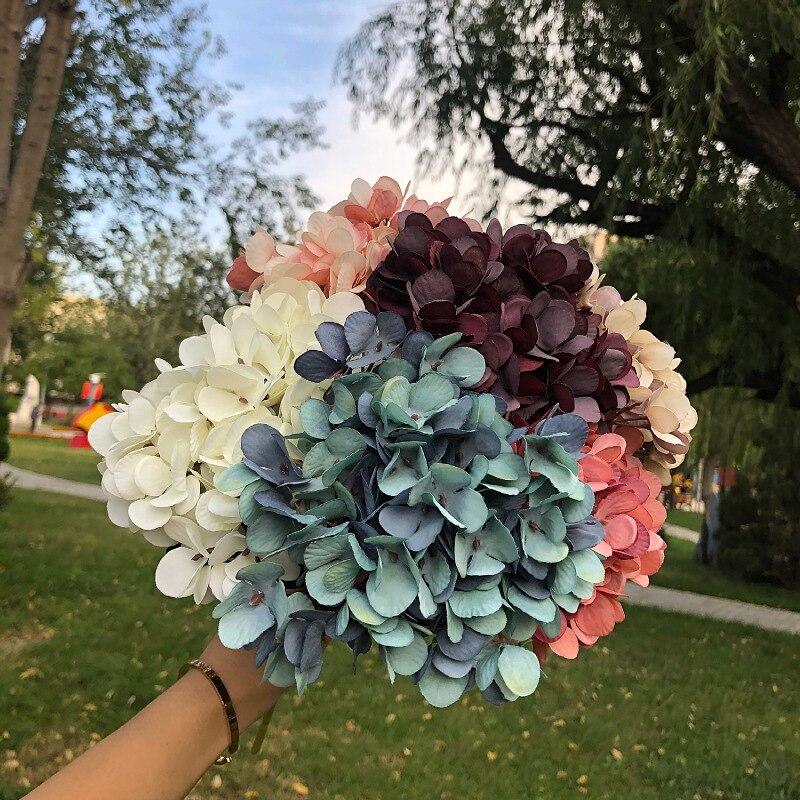 Свадебные искусственные цветы гортензии растений сушеные натуральный шелк консервированные прессованные цветы домашний декор Гортензия ...