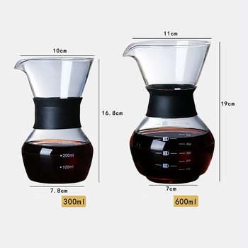 600ml Glass Coffee Kettle with Stainless Steel Filter Drip Brewing Hot Brewer Coffee Pot Dripper Barista Pour Over Coffee Maker 6