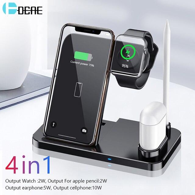 DCAE 10W Qi kablosuz şarj cihazı 4 in 1 şarj standı istasyonu iPhone 11 XS XR X 8 Airpods Apple izle 5 4 3 2 için Samsung S10 S9